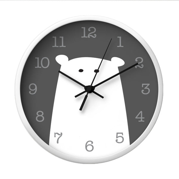 Polar bear nursery wall clock. Monochrome nursery decor