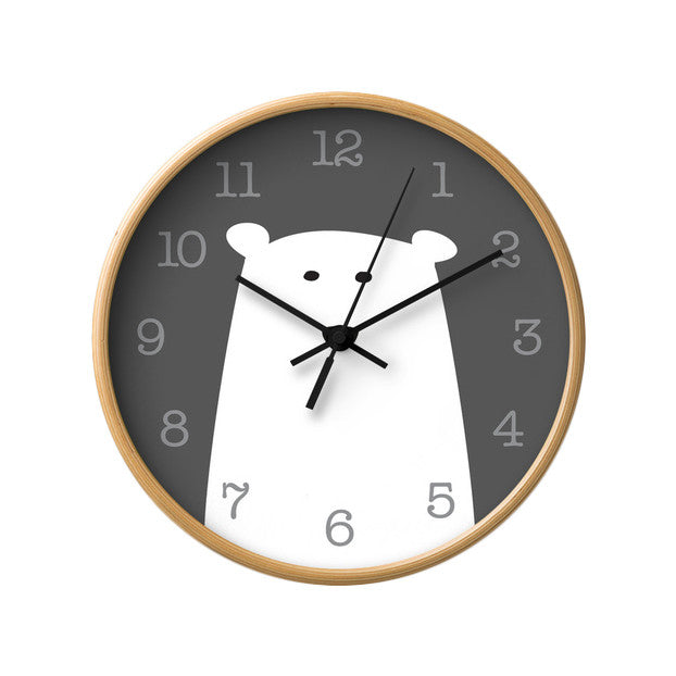 Polar bear nursery wall clock. Monochrome nursery decor - Latte Design  - 2