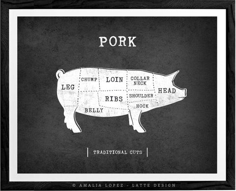 Pork Traditional butcher print. Gray kitchen print