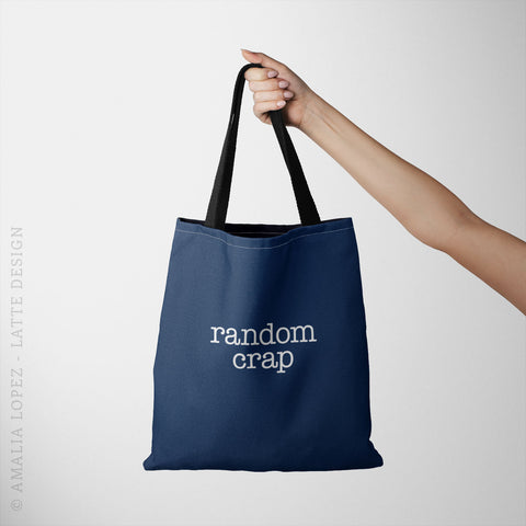 Random crap. Navy blue tote bag