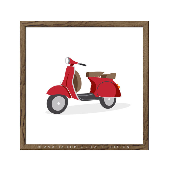 Green vespa print. Illustration print - Latte Design  - 2