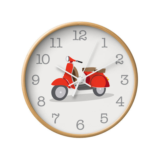 Red Vespa nursery wall clock - Latte Design  - 1