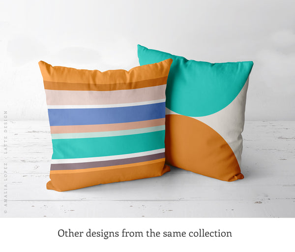 Fall colors pillow with stripes. Burnt orange stripy cushion