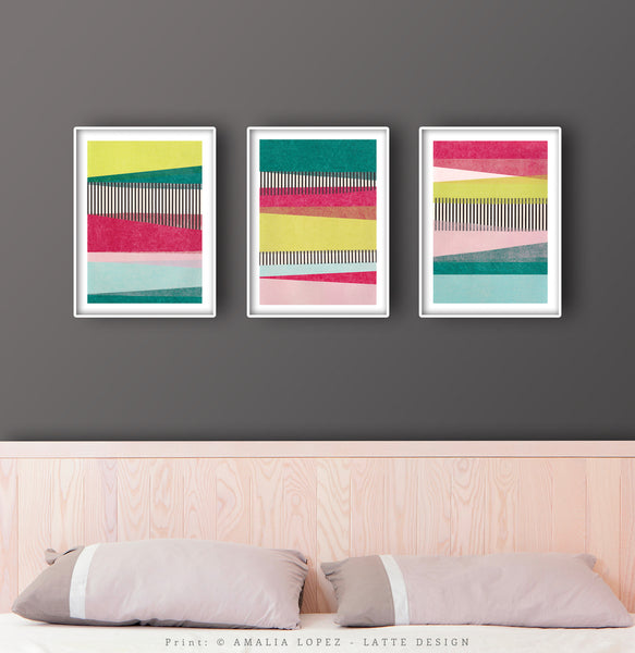 Set of 3 abstract collage prints. Green and pink prints