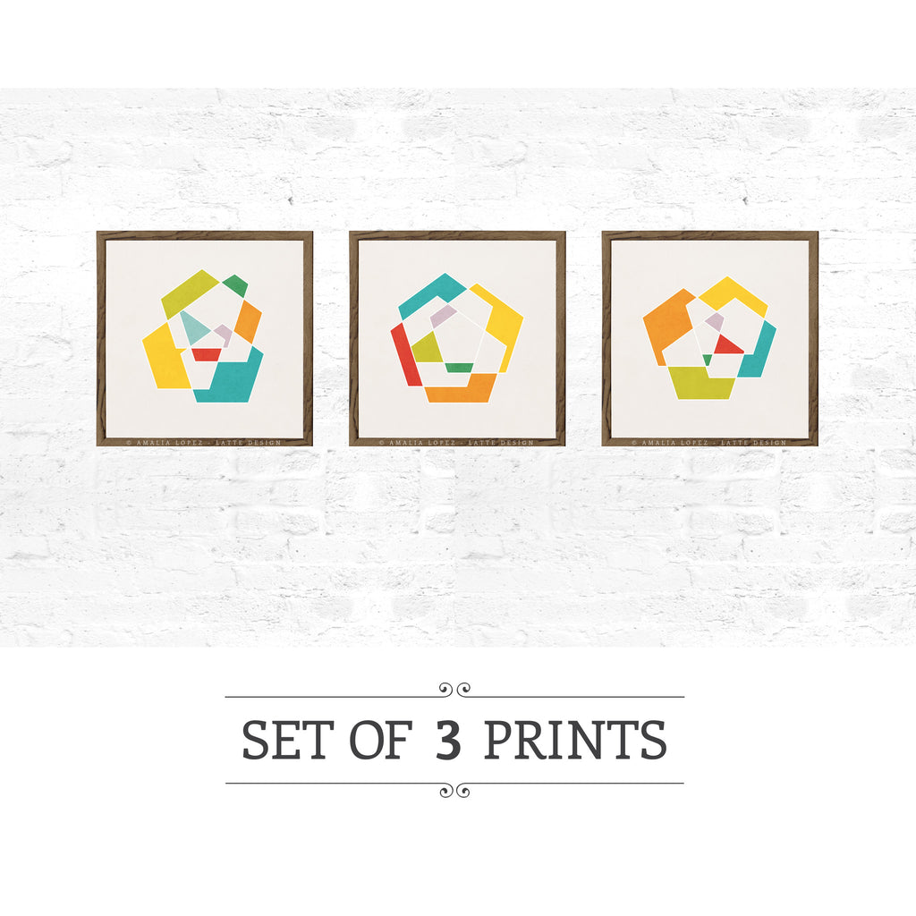 Set of 3 geometric prints. Geometric prints in orange, red and teal shades - Latte Design  - 1
