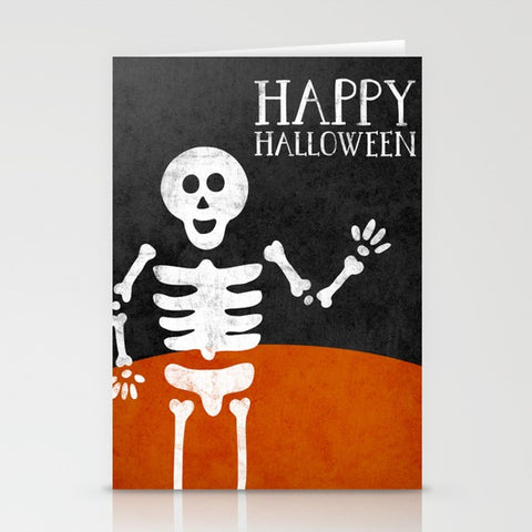 Skeleton. Halloween greeting card