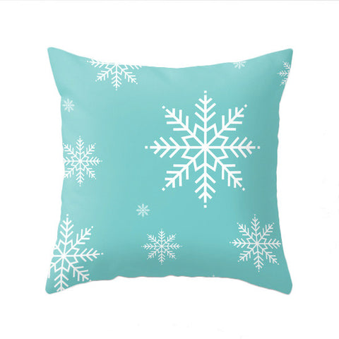Snowflakes. Turquoise Christmas pillow - Latte Design  - 1