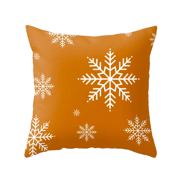 Snowflake. Burnt orange Christmas cushion
