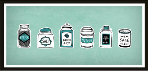 Spice jars print. Mint kitchen print