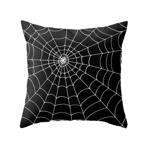 Spider web. Black Halloween cushion