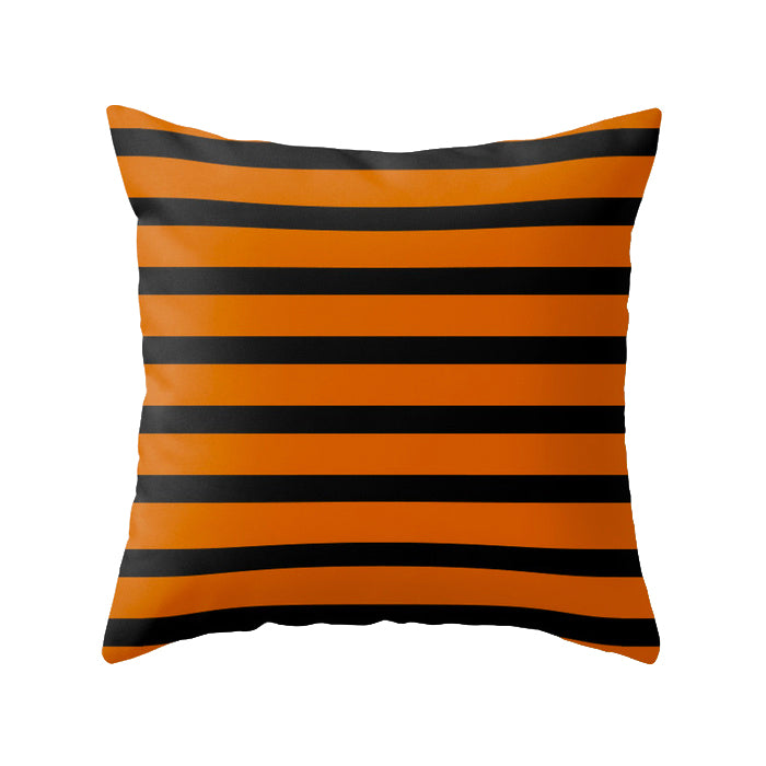 Stripes cushion. Orange and black stripes Halloween cushion