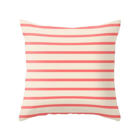 Coral red and cream pillow with stripes