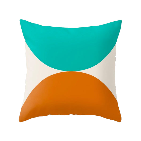 Burnt orange and teal Geometric cushion