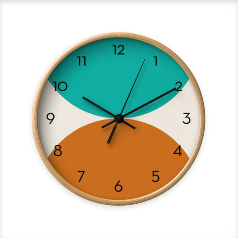 2 circles. Teal and burnt orange geometric wall clock.