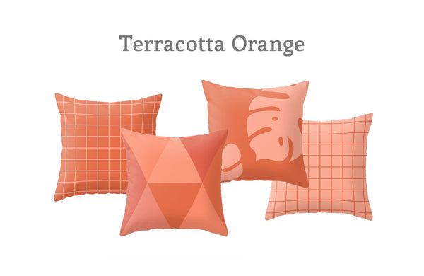 Terracotta orange Grid pillow