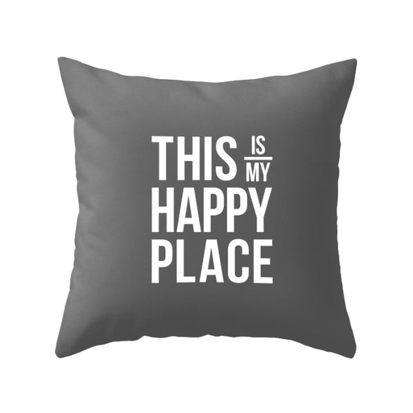 This is my happy place pillow. Yellow - Latte Design  - 2