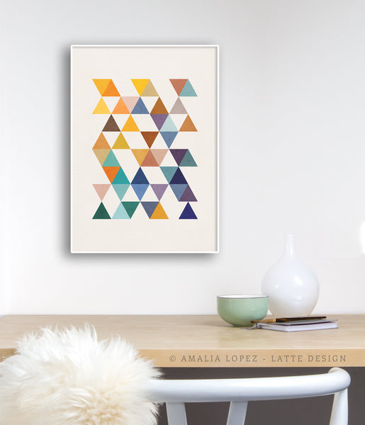 Triangles 6. Mid-century Geometric print. LD10004