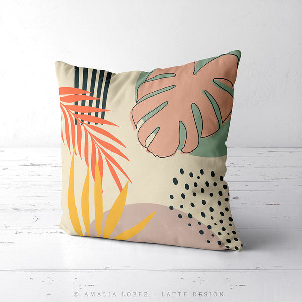 Tropical abstraction 1. Cream tropical cushion