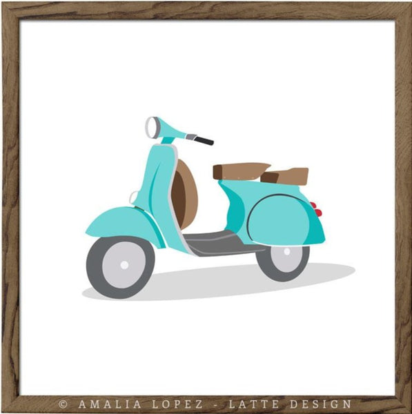 Turquoise vespa print. Illustration print - Latte Design  - 1