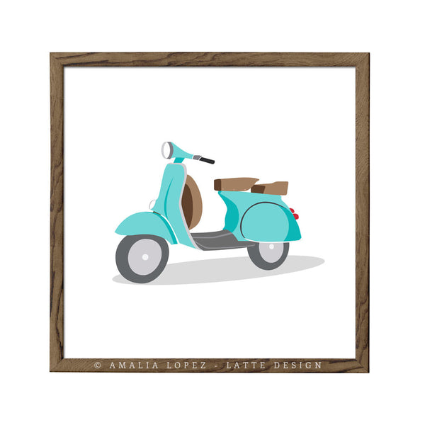 Green vespa print. Illustration print - Latte Design  - 3