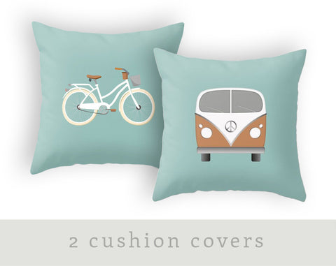 Set of 2 nursery cushions. Retro Camper van pillow and Bike pillow in light blue