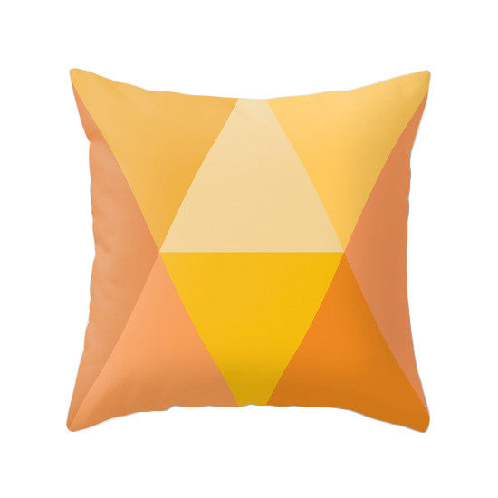 Orange Geometric pillow - Latte Design  - 1