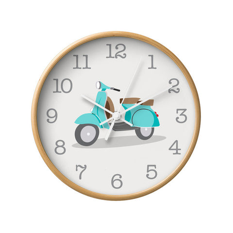 Turquoise Vespa nursery wall clock - Latte Design