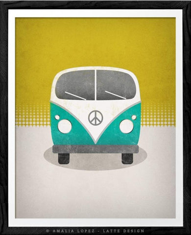 Retro camper van with Peace symbol. Teal print