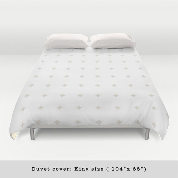 Swiss cross cream and white duvet cover - Latte Design  - 2