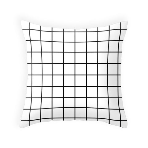 White Grid pillow - Latte Design  - 1