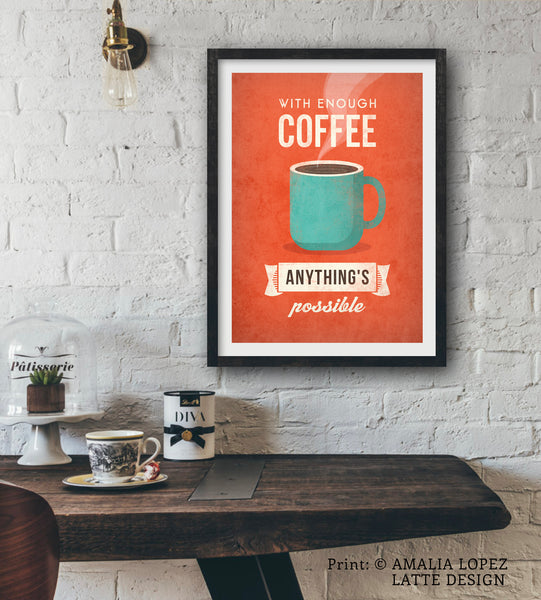 With enough coffee anything is possible. Burnt orange print
