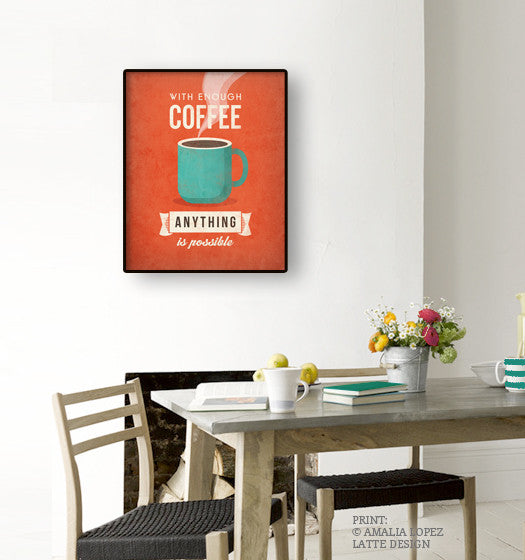 With enough coffee anything is possible. Coffee print Coffee poster Coffee art Quote poster Kitchen art grey Kitchen wall art decor gray kitchen print UK - Latte Design  - 8