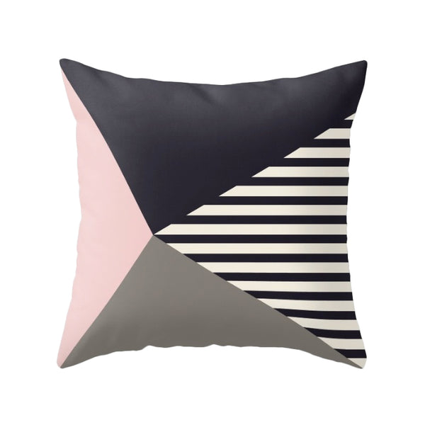 Black, white and pink stripes cushion