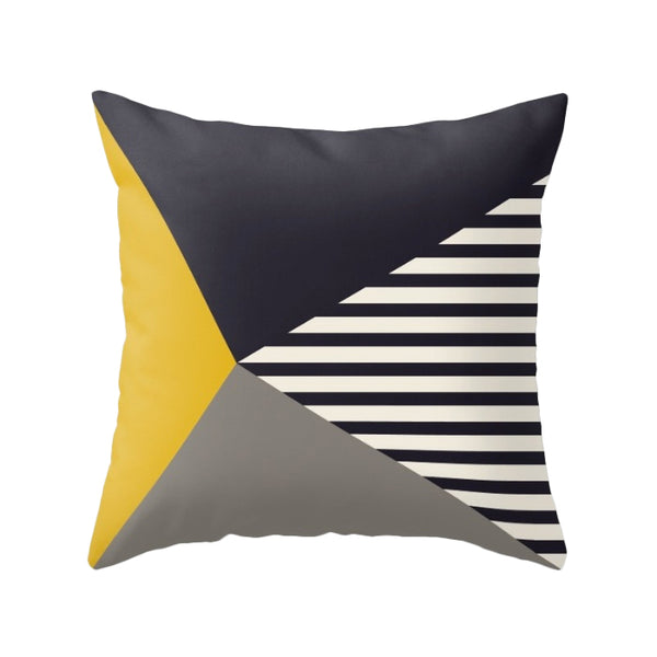 Black, white and yellow stripes cushion
