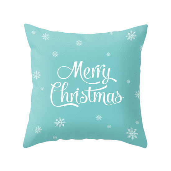Merry Christmas. Turquoise Christmas pillow - Latte Design  - 1