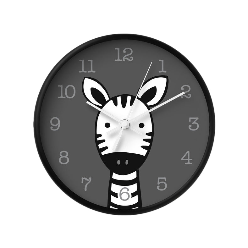 Zebra nursery wall clock. Black and white kids room decor