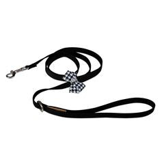 BLACK & WHITE HOUNDSTOOTH NOUVEAU BOW DOG LEASH