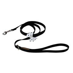 BLACK & WHITE POLKA DOT NOUVEAU BOW DOG LEASH