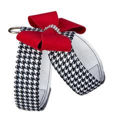 BLACK & WHITE HOUNDSTOOTH RED NOUVEAU BOW TINKIE HARNESS