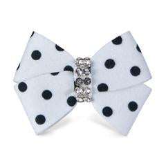 BLACK & WHITE POLKA DOT NOUVEAU HAIR BOW