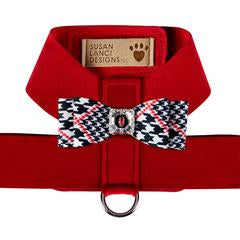 RED TINKIE HARNESS W/GLEN BLACK & WHITE HOUNDSTOOTH BIG BOW TINKIE HARNESS
