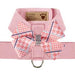 PEACHES N' CREAM GLEN HOUNDSTOOTH NOUVEAU BOW + PUPPY PINK TINKIE HARNESS