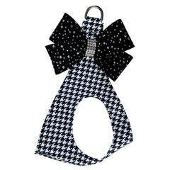 BLACK & WHITE HOUNDSTOOTH SILVER STARDUST NOUVEAU BOW STEP IN HARNESS