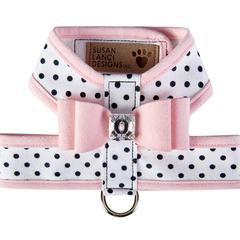 POLKA DOG TINKIE HARNESS W/PUPPY PINK BIG BOW + TRIM