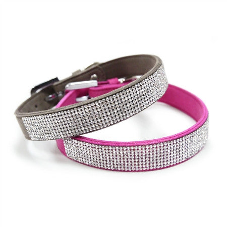 VIP BLING COLLAR FUSCHIA PINK/GRAY, Collars - Bones Bizzness