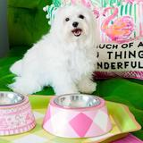 BUFFALO PLAID DOG BOWL - PINK, Bowls - Bones Bizzness