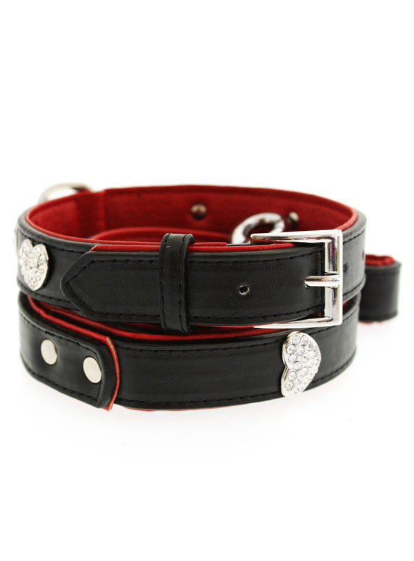 RED/BLACK DIAMANTE LEATHER & HEART DOG COLLAR & LEASH SET, Collars - Bones Bizzness