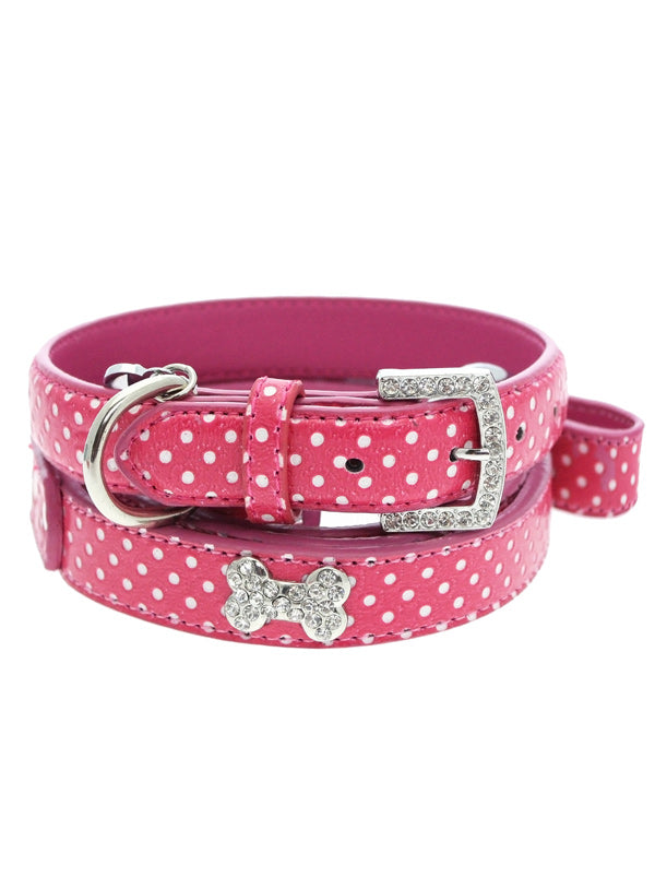 HOT PINK DIAMANTE LEATHER & HEART DOG COLLAR & LEASH SET, Collars - Bones Bizzness