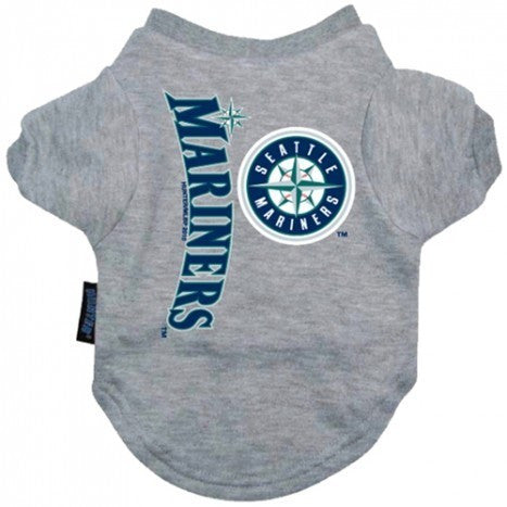 SEATTLE MARINERS DOG TEE SHIRT GREY, MLB - Bones Bizzness