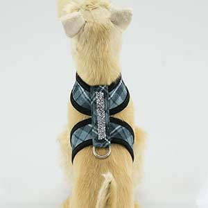 SCOTTY TWO-TONE TINKIE HARNESS IN GREY PLAID & CRYSTAL TRIM ROCK